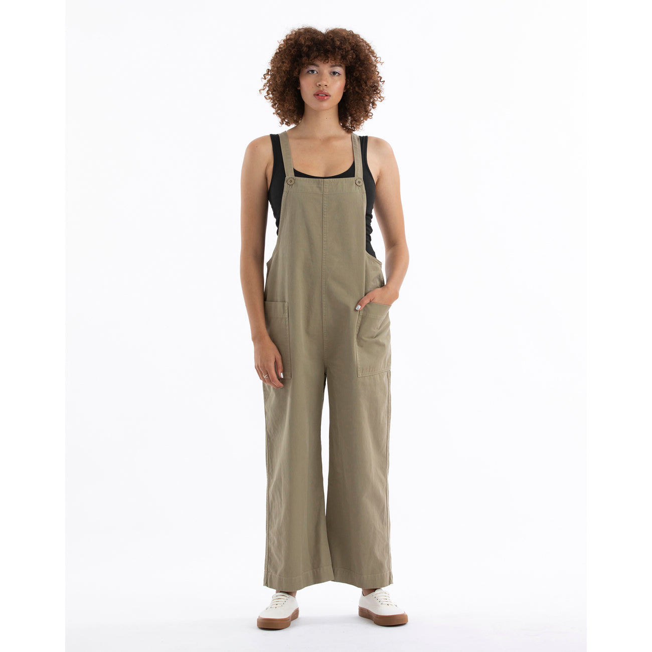 overall jumper in khaki