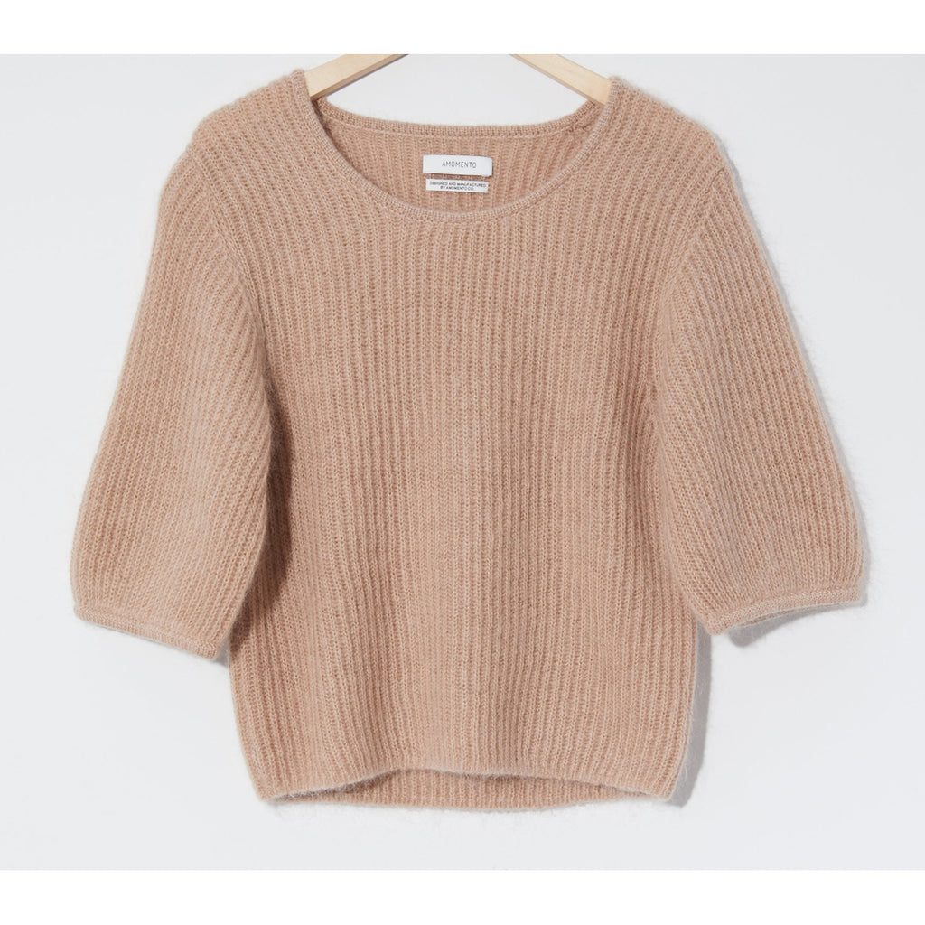 kid mohair half sleeve pullover in beige