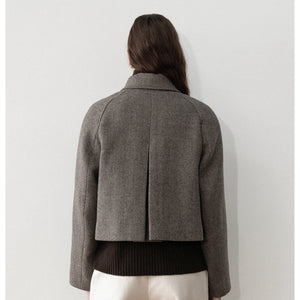 wide crop coat in herringbone