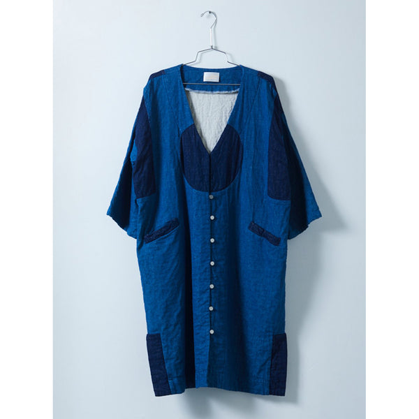 Atelier Delphine Gillian Coat in Indigo Patchwork