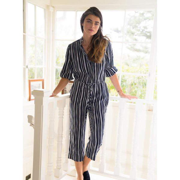Birds of Paradis Ingrid B Jumpsuit in Navy Stripe