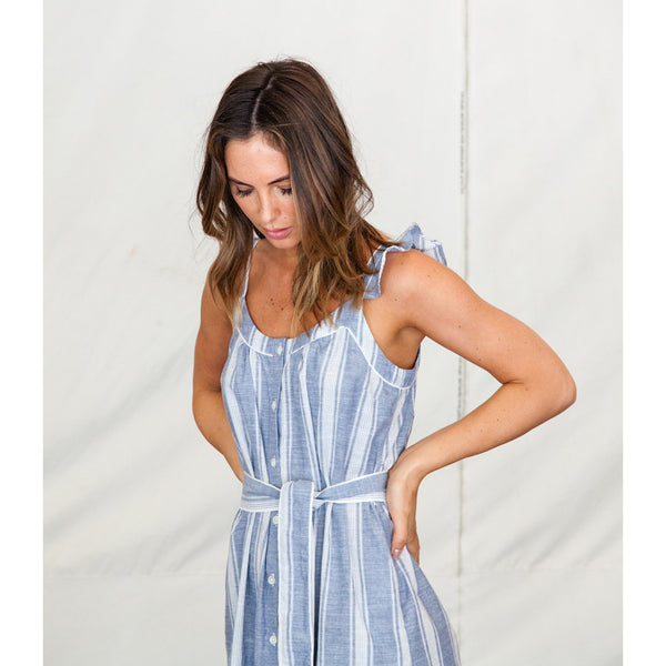 Birds of Paradis Adele Sundress in Navy Stripe