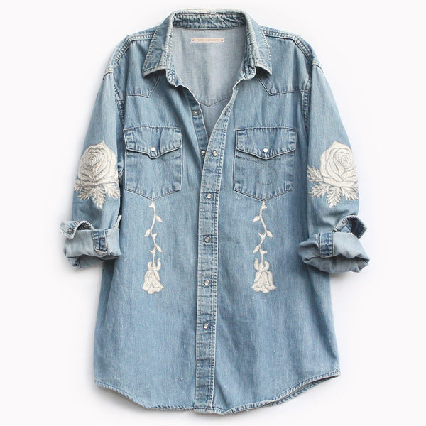 Bliss and Mischief Conjure Flower Denim Shirt