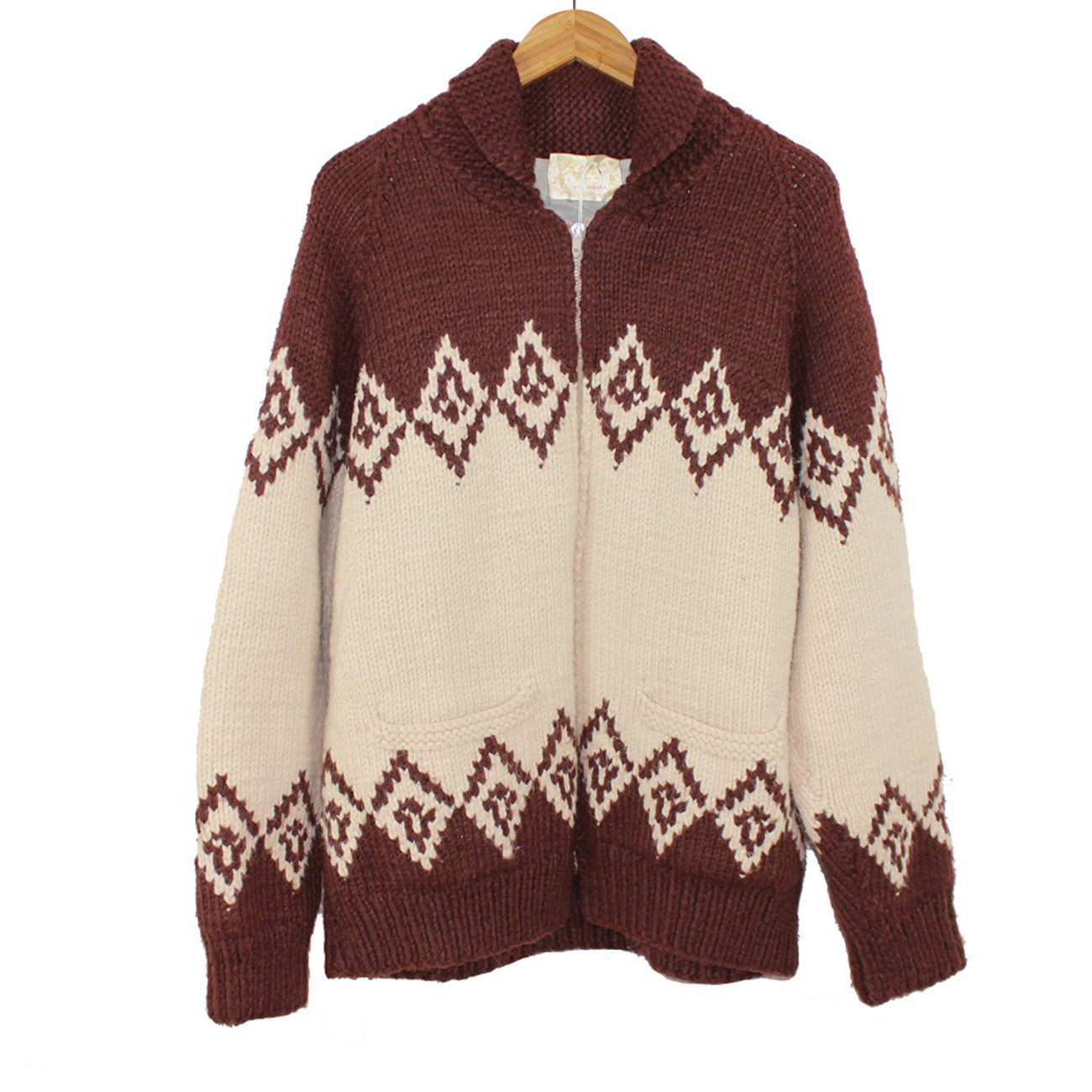 Brown and Cream Hand Knit Cowichan Sweater
