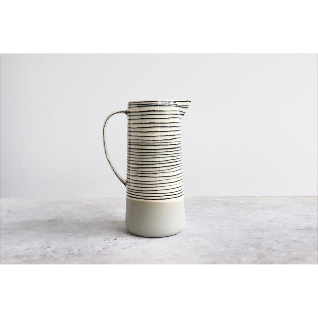 striped pitcher in sage