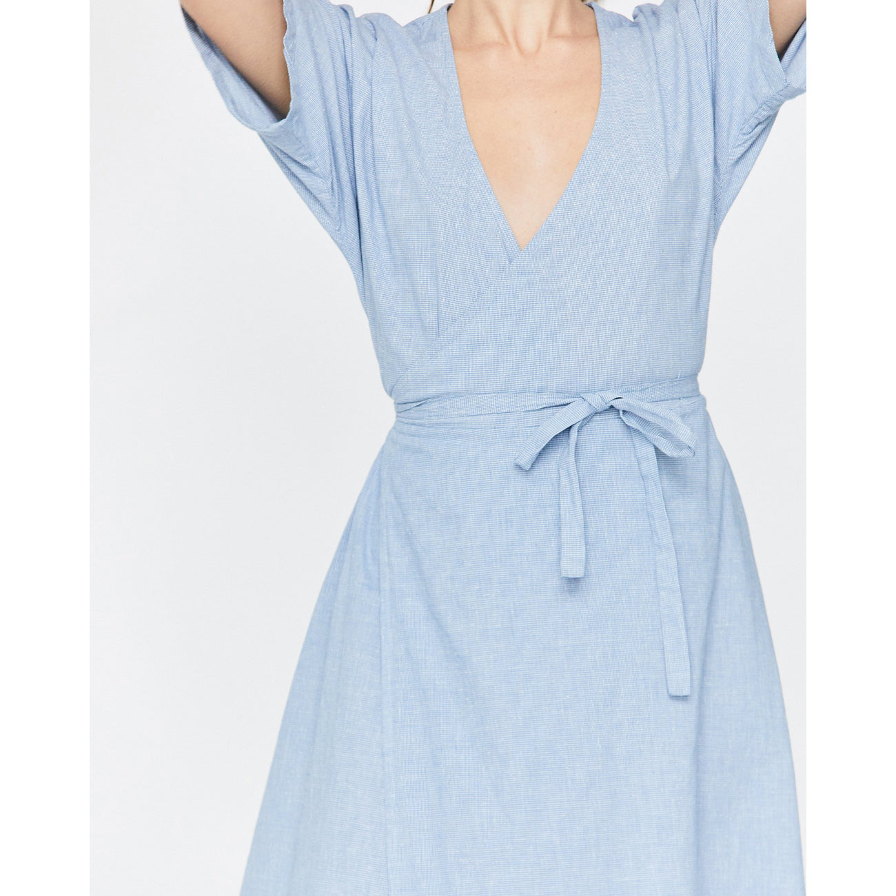 Esby Monet Wrap Dress in Ocean Blue Micro Houndstooth