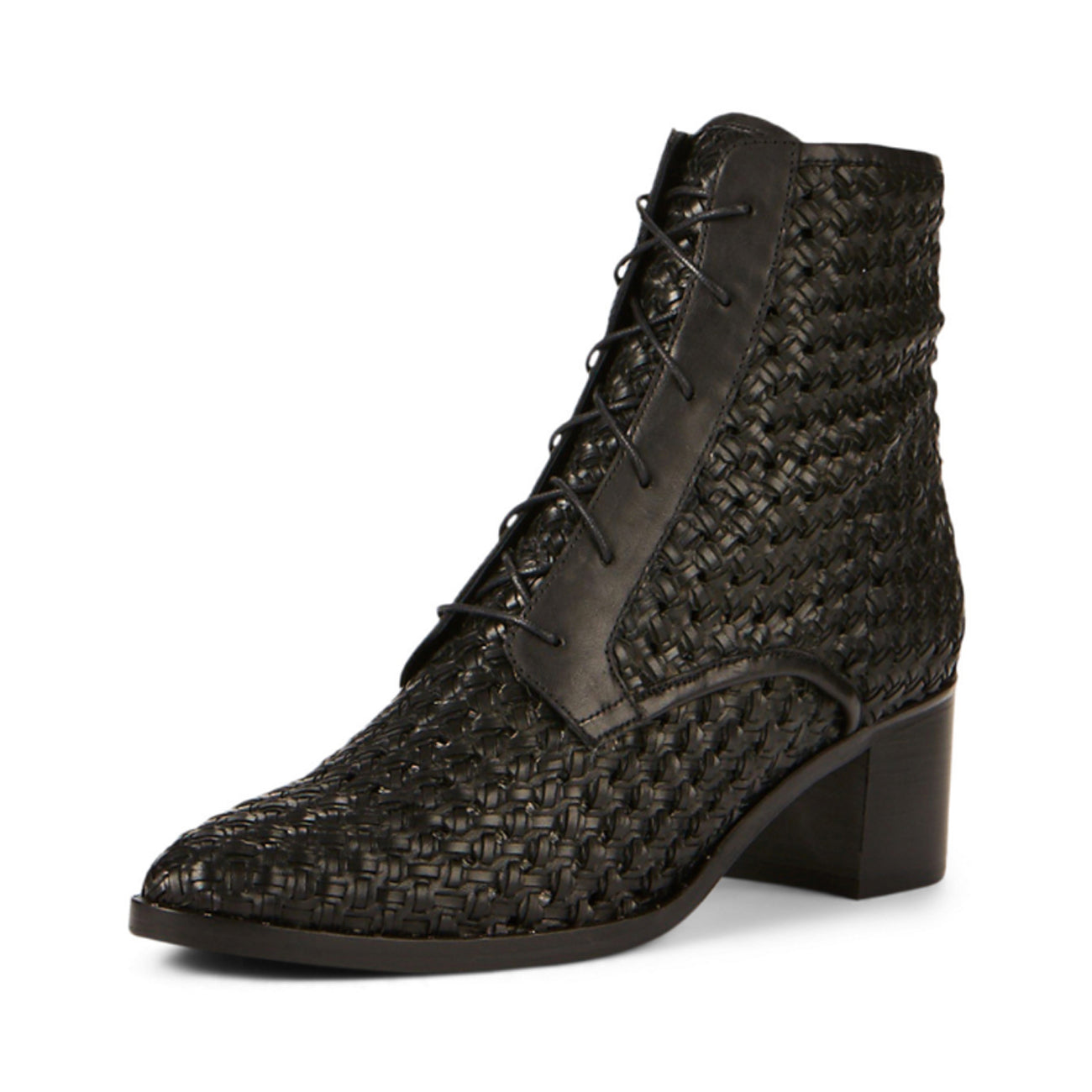 Freda Salvador Ace Lace Up Boot in Black Woven