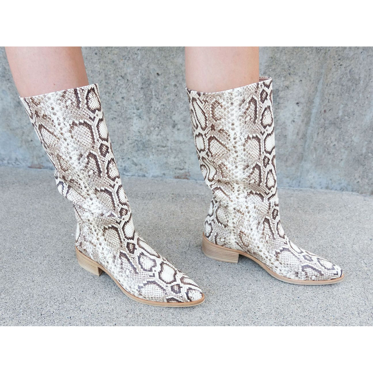 julia mid shaft boot in vanilla snake