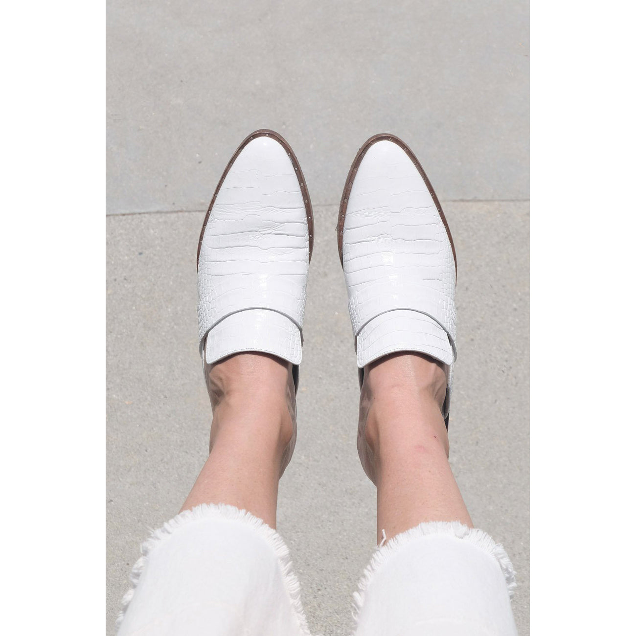 Freda Salvador Keen Mule in White Embossed Croc