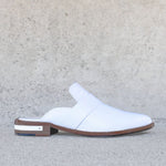 keen mule in white embossed croc
