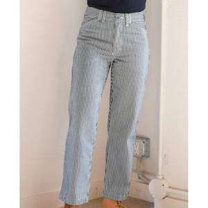 painter pants in conductor stripe