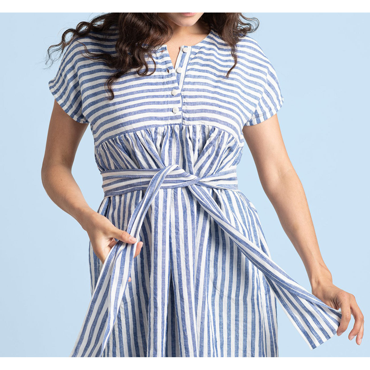 ondine dress in linen stripe