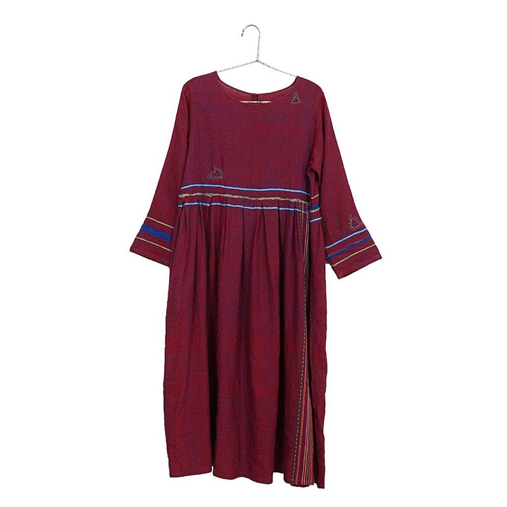 handmade wool & cotton dress in wine