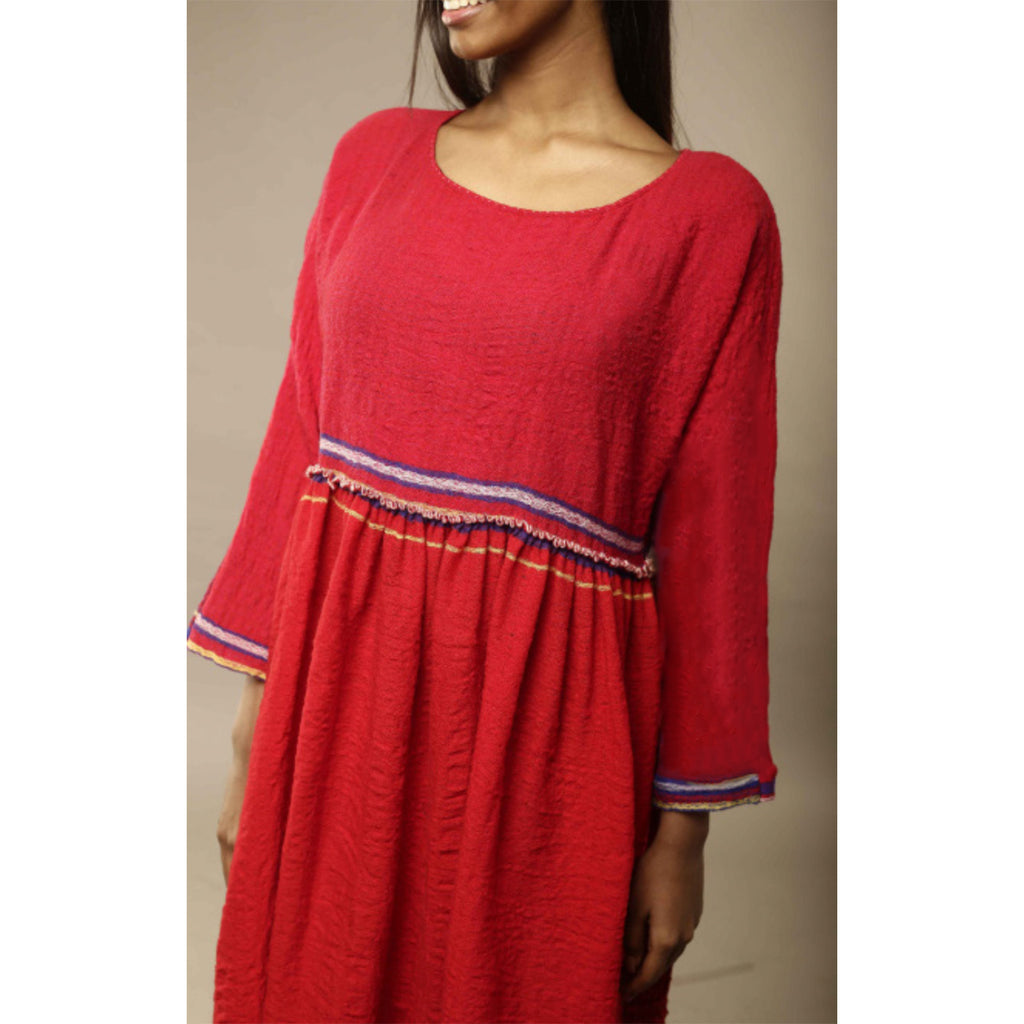 handmade wool dress in red