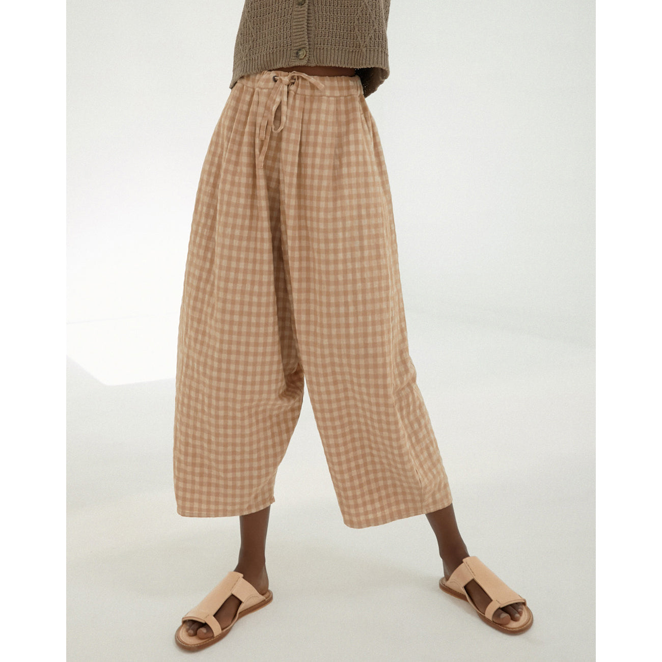checkered maxi pants in nougat