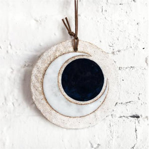 large ornament: crescent indigo