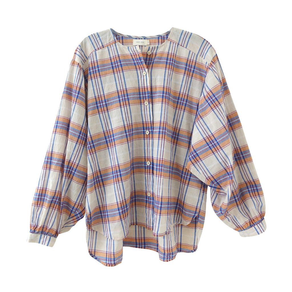 mae plaid button up in cream plaid