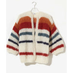 mohair striped cardigan in creme/copper