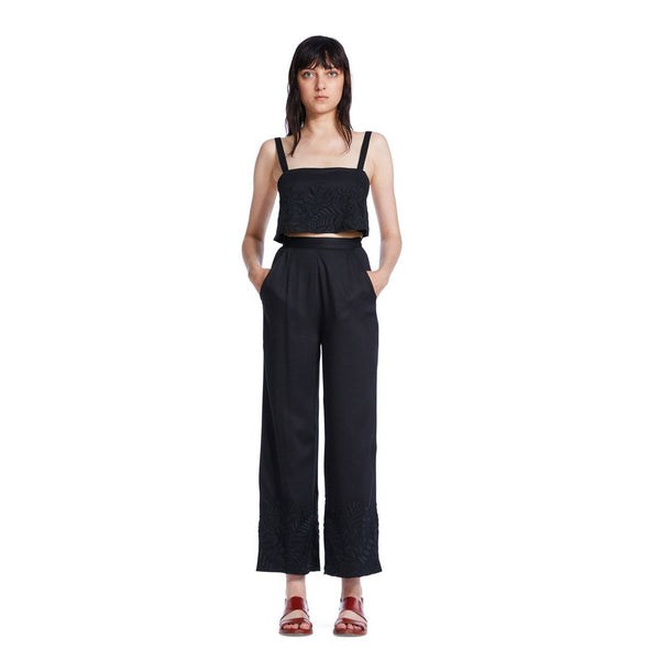 Mara Hoffman Black Embroidered Pant