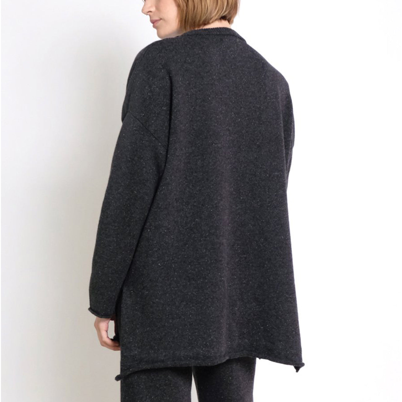 hi lo sweater in speckle black