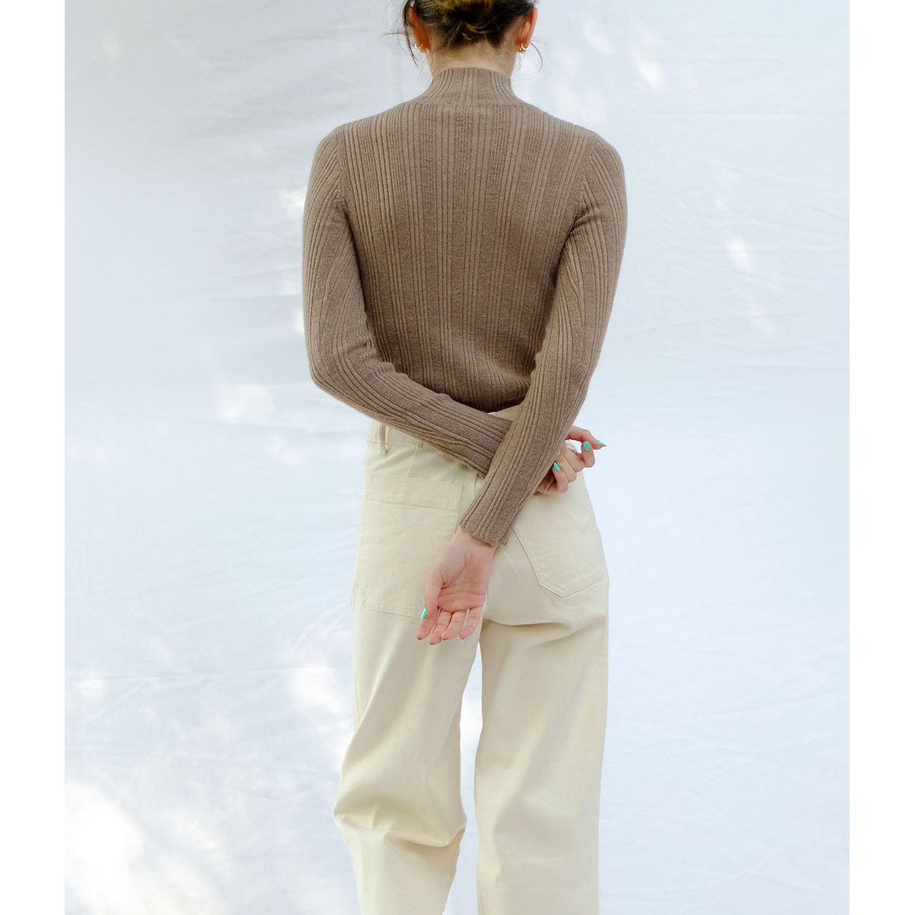 rib turtleneck in camel