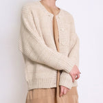 chain stitch cardigan in antique