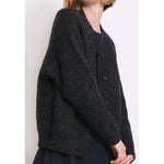 chain stitch cardigan in melange black