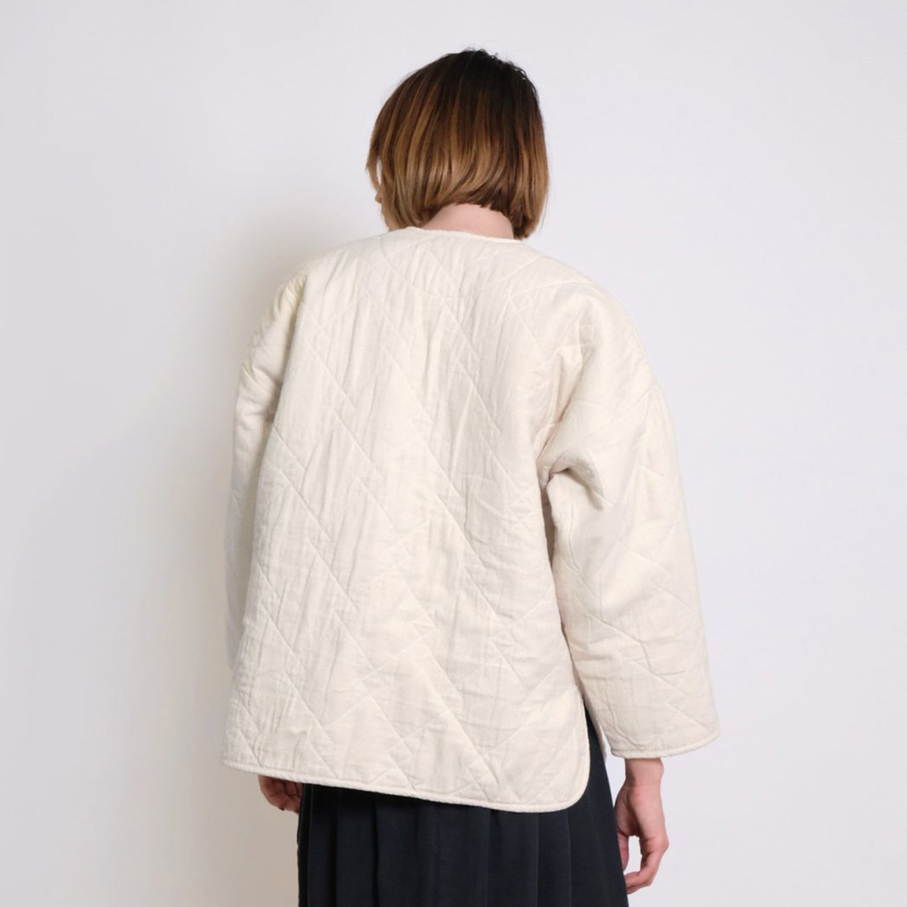diamond quilted jacket in cream