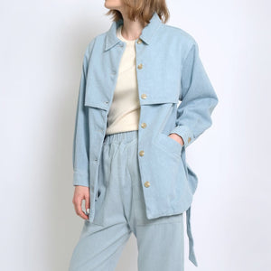 sky blue trench jacket