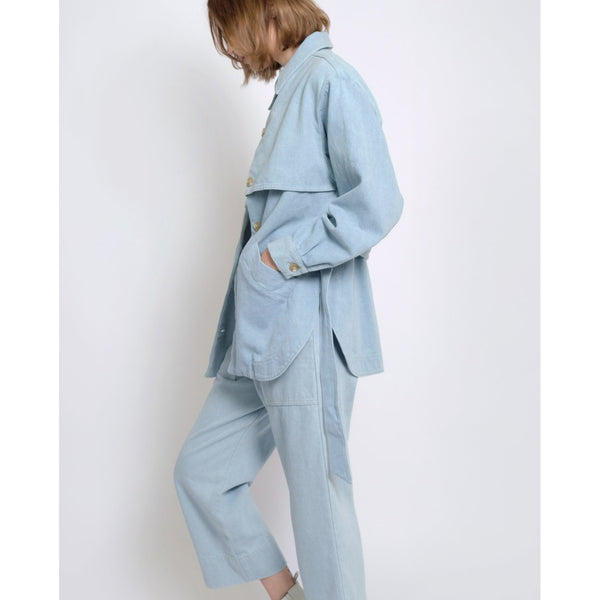 Micaela Greg Sky Blue Trench Jacket