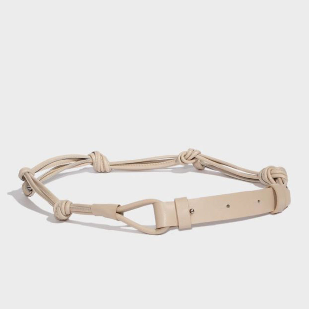 leather macrame belt in putty