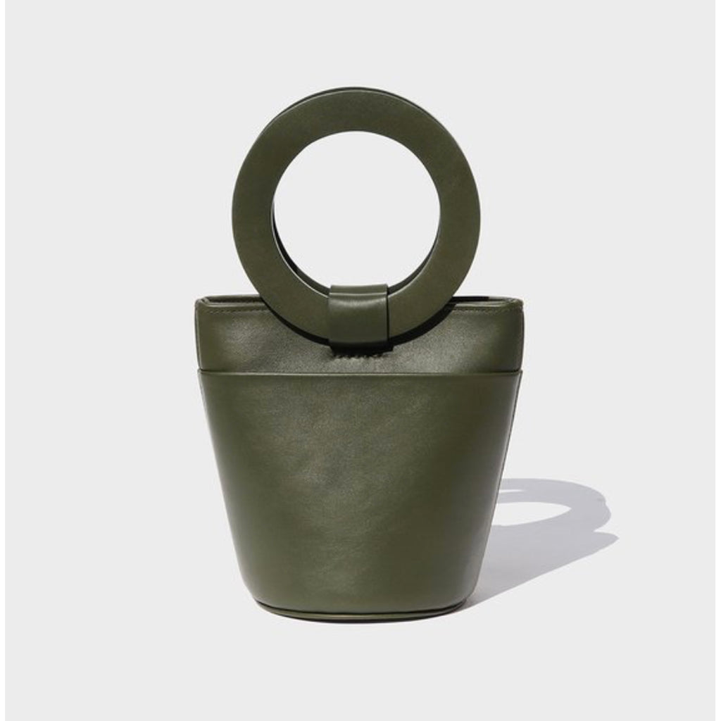 leather bucket bag in safari