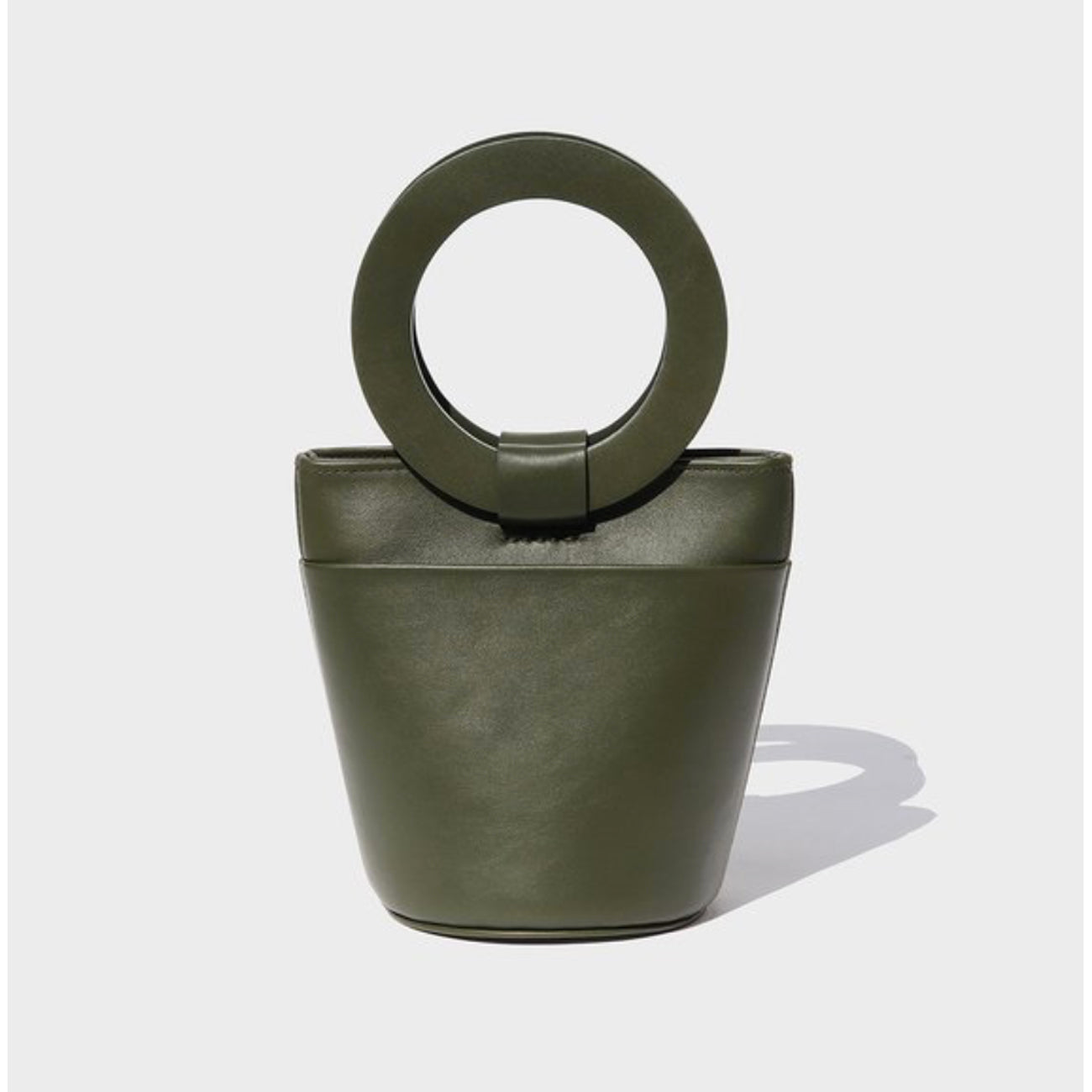 Modern Weaving Mini Circle Handle Bucket Bag in Safari Leather