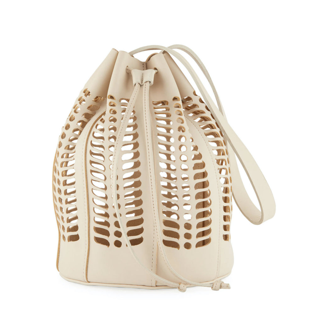 jute bucket bag in putty