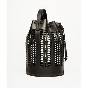 jute bucket bag in black