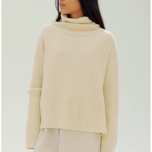 baby yak turtleneck sweater in natural