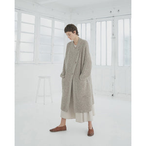 chunky soft wool coat in taupe