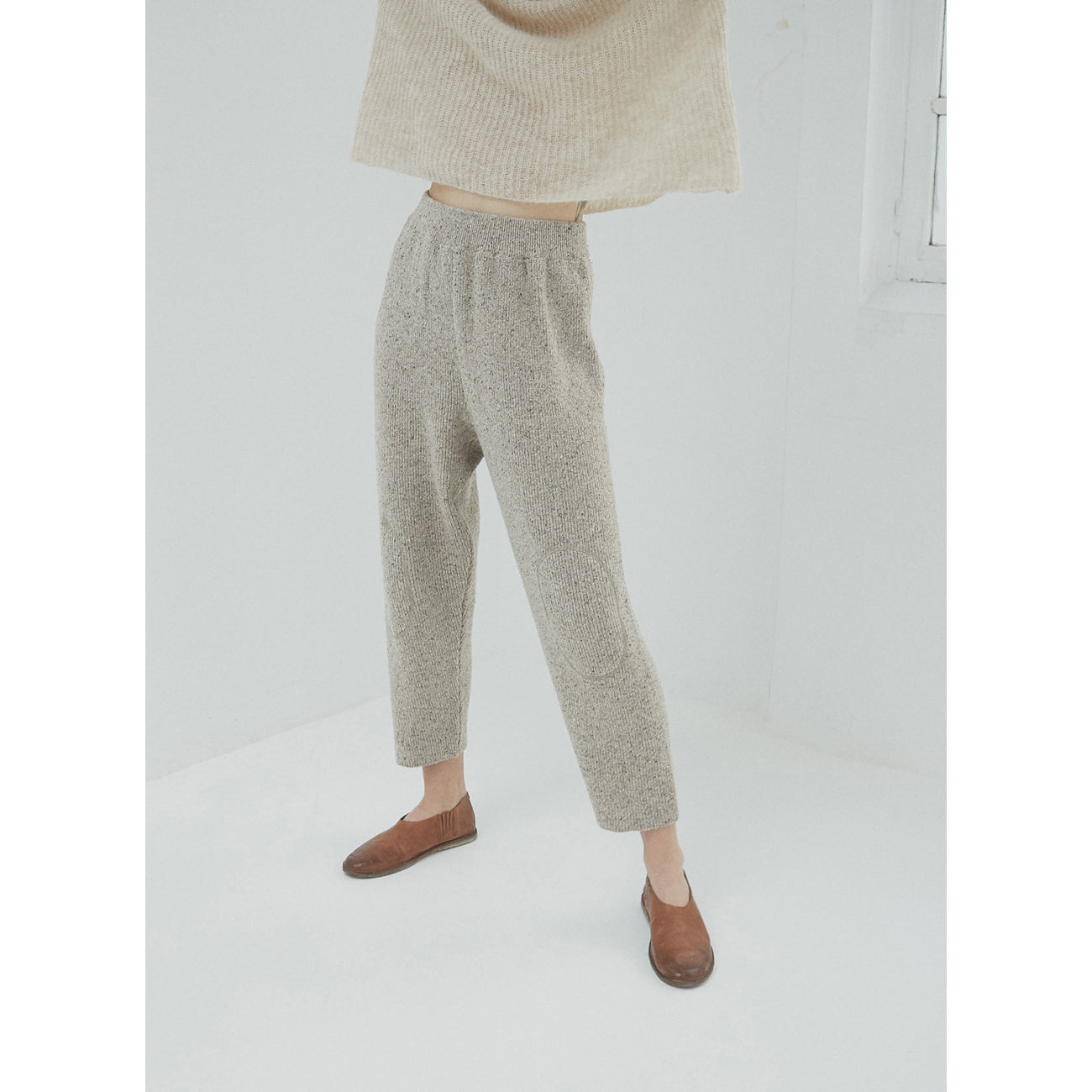 soft wool knit pants in taupe