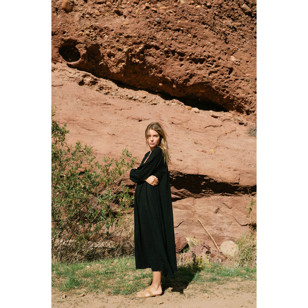 fiore maxi in black cotton gauze