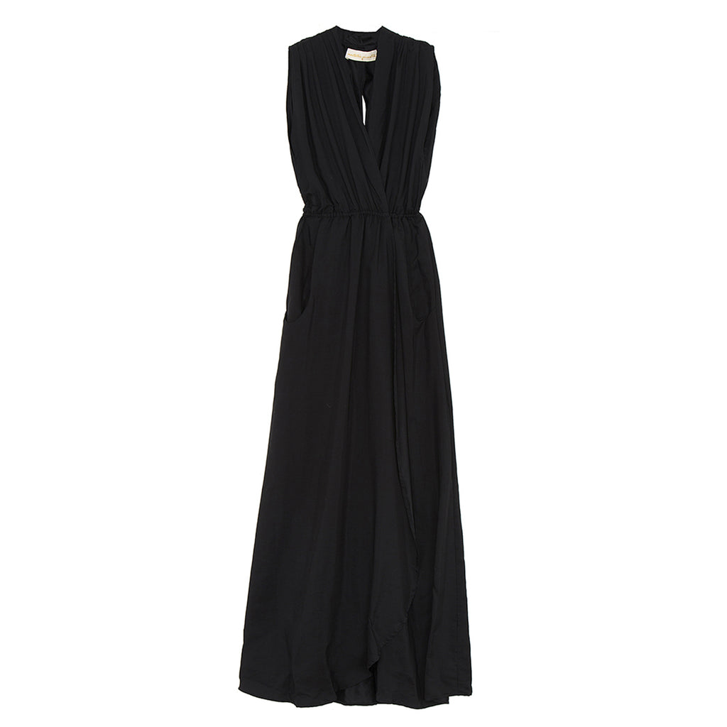 nico sleeveless maxi dress in black silk
