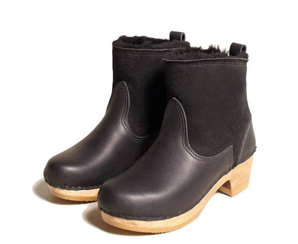 "No.6 5"" Pull on Shearling Boot Mid Heel in Black Suede"