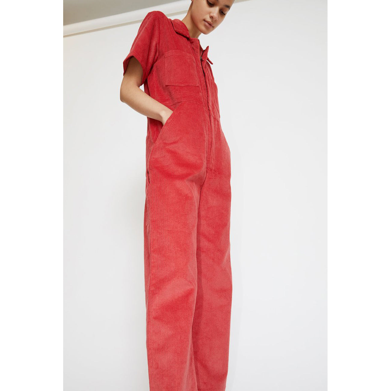 freya coverall in rose corduroy