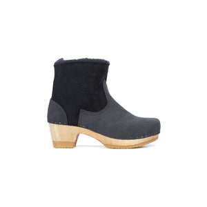 shearling clog boot in navy