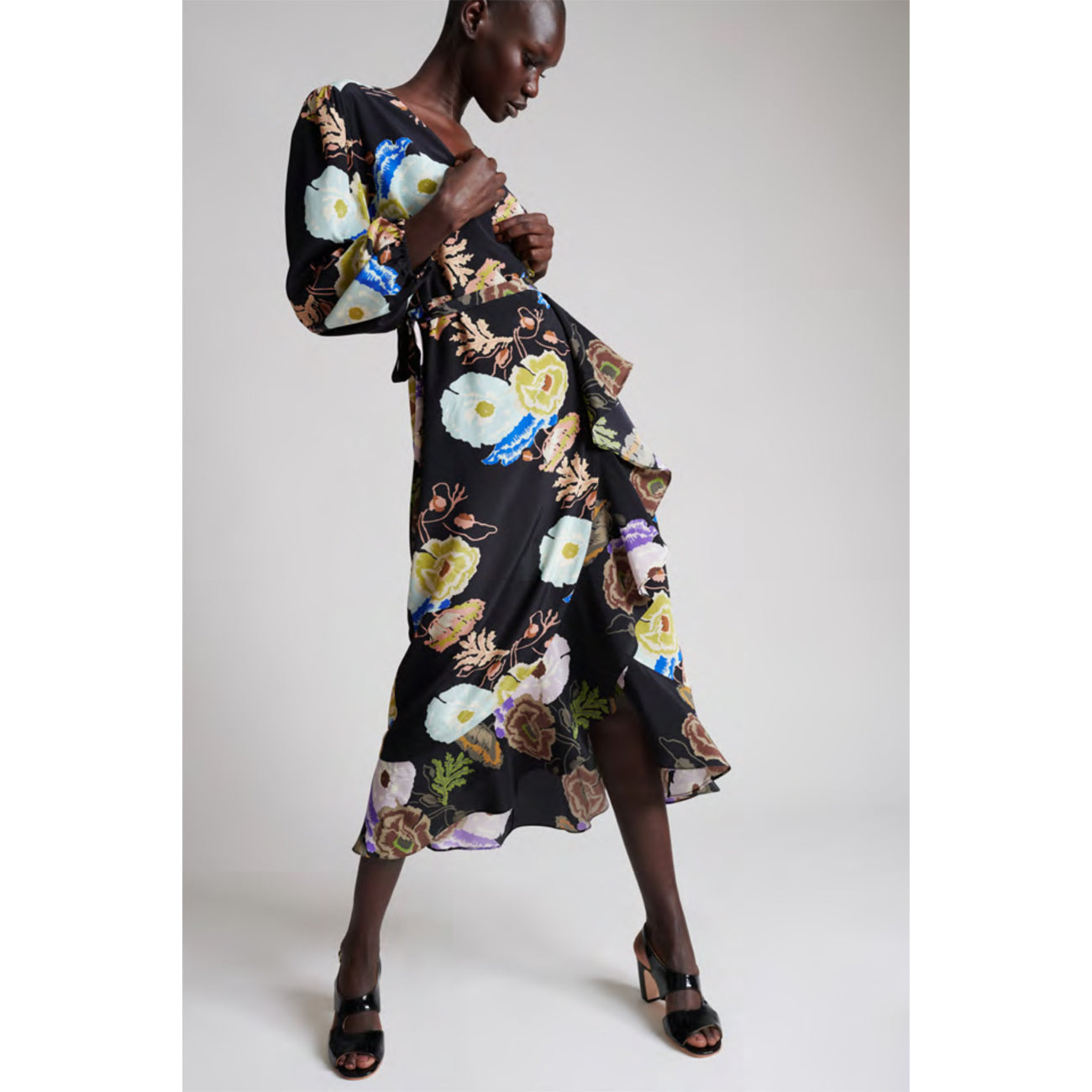 noma wrap dress in black hyacinth