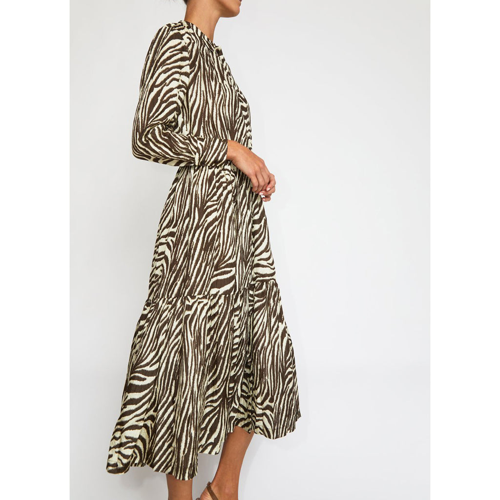 roman dress in coffee/cream zebra