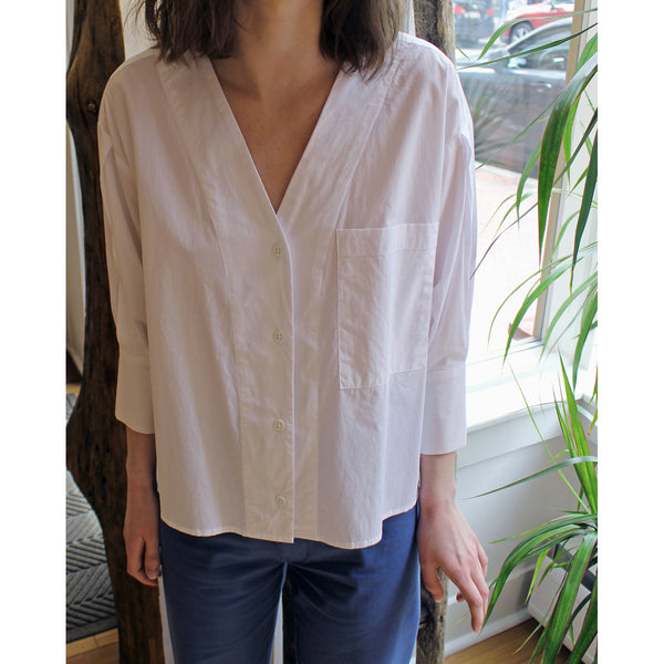 No.6 Turin Button Front Shirt in White