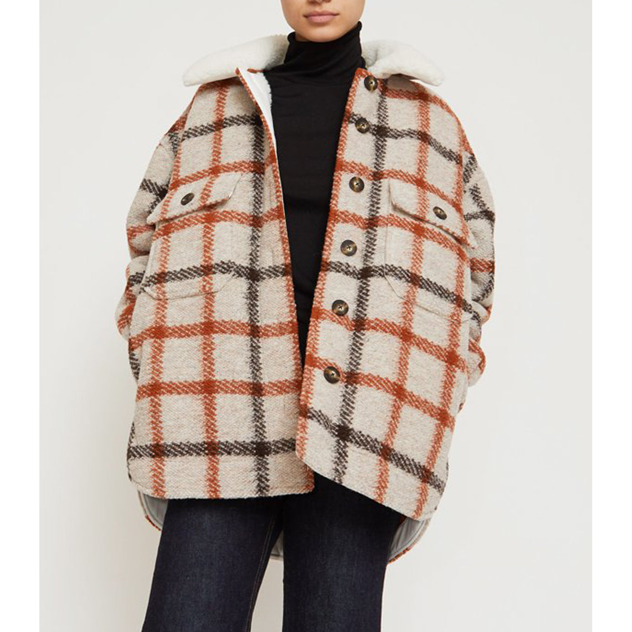 wilson jacket in natural fleece lined plaid