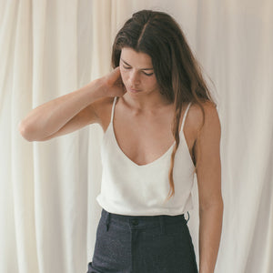 silk noil camisole in natural