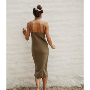 silk noil slipdress in olive