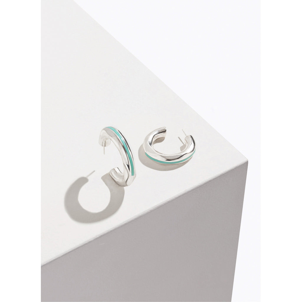 turquoise inlay georgia hoops